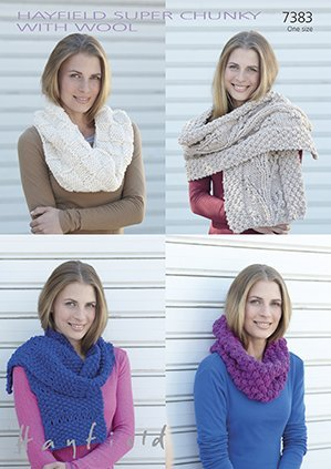 Sirdar/Hayfield Super Chunky with Wool Knitting Pattern - 7383 Snoods & Scarves by Sirdar/Hayfield by Sirdar/Hayfield