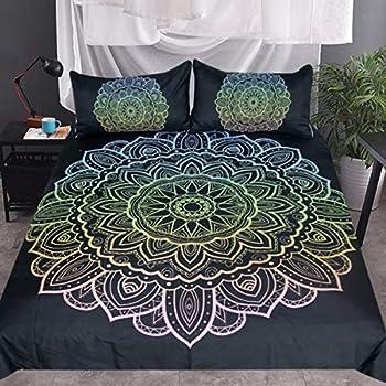 Sleepwish Lotus Mandala Duvet Cover 3 Piece Yoga Bedding Blue Fading to Gold Pink Colors Boho Black Vintage Bed Cover (King)