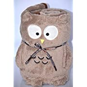 Animal Collection Owl Baby Girls Boys Plush Blanket Throw Security Blanket Animal Pillow Toy Soft Brown