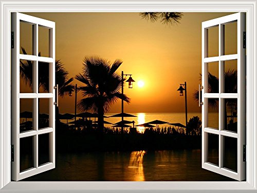 Removable Wall Sticker Wall Mural Majestic Tropical Scenery at Sunset Creative Window View Wall Decor