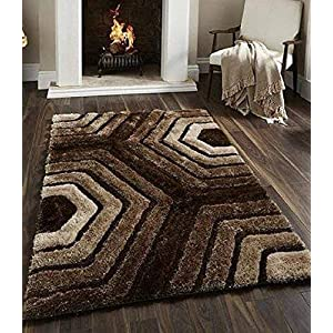 SRHandloom Shaggy Carpet/Rug for Bedroom/Hall and Living Room with Welcome Door Mat – Brown (22×55 Inch)