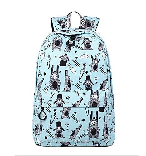 HopeEye niñas Tendencias de la moda Poliéster La Sra mochila(yszsb10-1-White) 4-azul