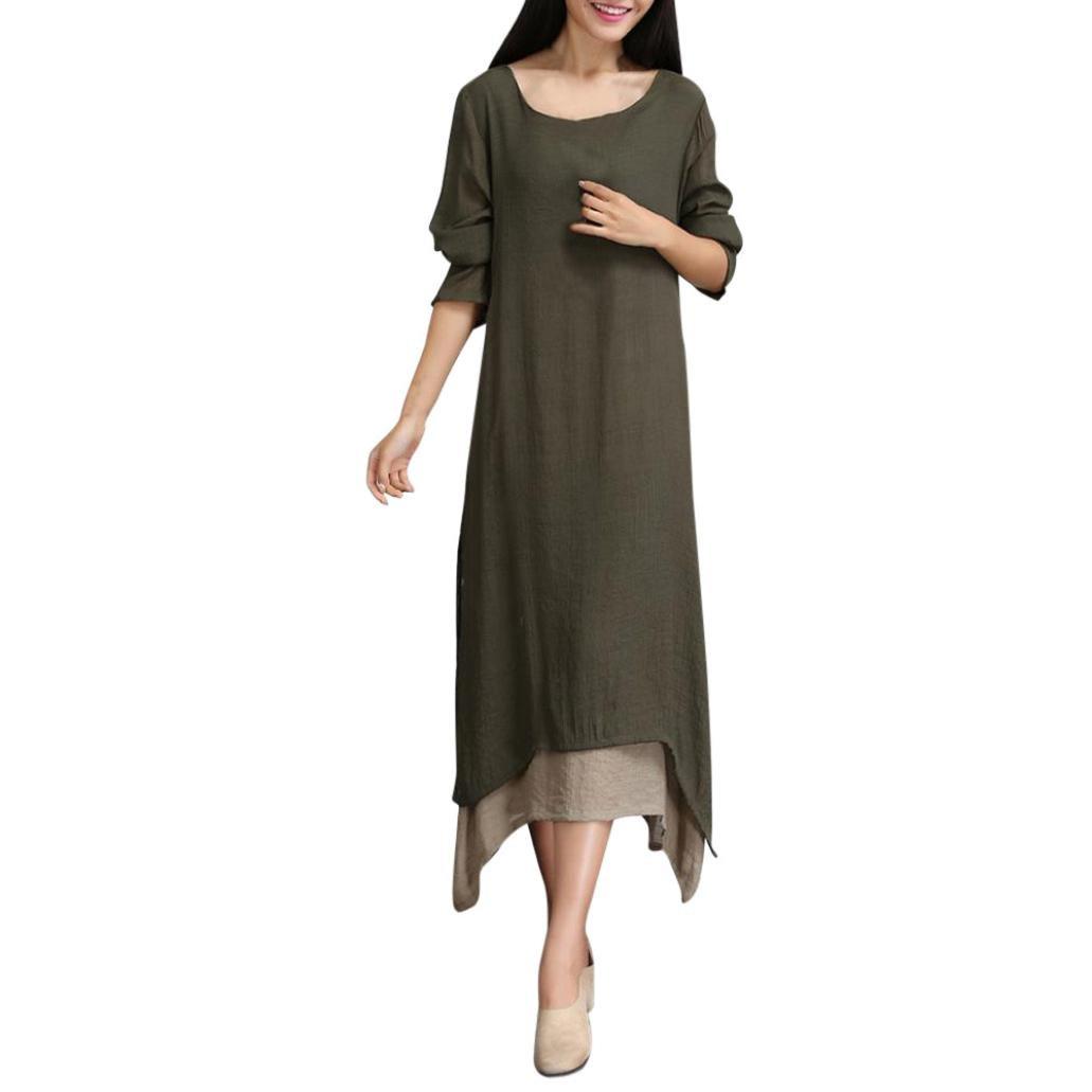 Women Long Sleeve Dress Dresses,Women's Plus Size Cotton Linen Loose Dress Long Sleeve Two Color Stitching Dresses
