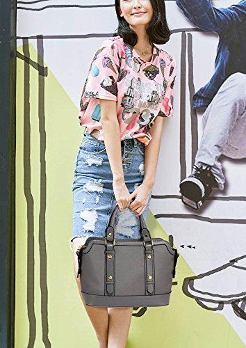 ANNA GRACE - Bolso de asas de piel sintética para mujer Design 1 - Grey