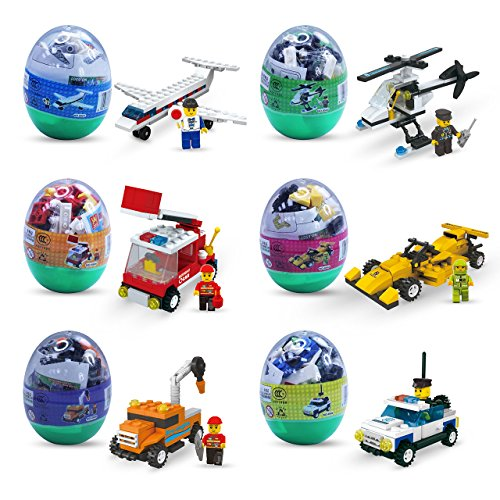 Easter eggs filled with Building Brick blocks toys. 6 eggs e