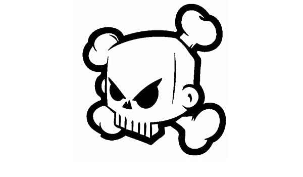 Calavera Block Skull-Pegatina Prespaziato-15 cm-Color negro ...