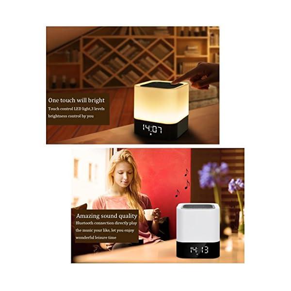 Enceinte Haut-parleur Bluetooth Portable Lampe de Chevet LED avec Contrôle Tactile, Lampe de Table Couleur Changeant la Lumière de Nuit avec le Réveil pour la Chambre 5