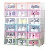 Smilun Portable Shoe Boxes Container for Closet Organizer Clear Plastic Shoe Boxes Shelf Stackable Foldable Organizer Box Multicolour Heart12PCs