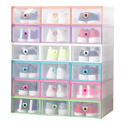 e Organizer Transparent Plastic Stackable Shoe Box Case Home Storage Container Office Organiser Multicolour Heart6PCs ()