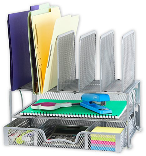 SimpleHouseware Mesh Desk Organizer with Sliding Drawer, Double Tray and 5 Upright Sections, Silver -