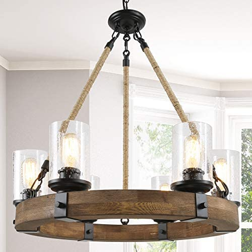 Farmhouse Chandelier for Dining Rooms,6-Lights 25 Wagon Wheel Chandelier,Hemp Rope Wood Chandelier with Seeded Glass Shade