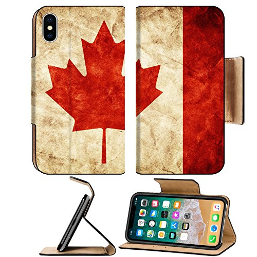 Luxlady Premium Apple iPhone X Flip Pu Leather Wallet Case IMAGE ID 31476911 Canada grunge flag Vintage retro style High resolution hd quality Item from my grunge flags col -