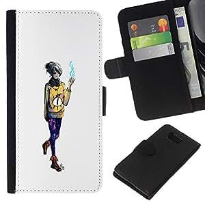 LECELL--Cuero de la tarjeta la carpeta del tirón Smartphone Slots Protección Holder For Samsung ALPHA G850 -- Mago de la muchacha --