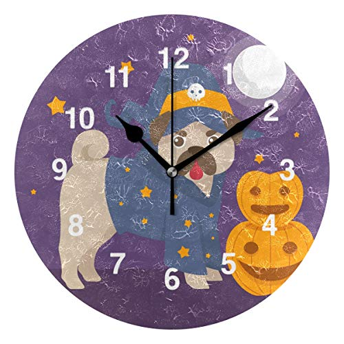 Jojogood Funny Pug with Halloween Costume Wall Clock Silent Non Ticking Clock,Battery-Powered with Quartz Movement for Living Room Bedroom Home -
