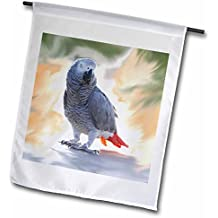 3dRose fl_4030_1 African Grey Parrot Garden Flag, 12 by 18-Inch