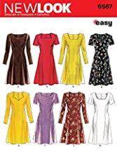 Misses Dress sewing pattern. New Look pattern 6567, part of New Look Winter 1996 Collection. Pattern for 8 looks. For sizes A (6-8-10-12-14-16).