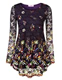 Jubby Lace Tops For Women, Ladies Floral Mixed Print Maternity Flower Bohemian Loose Fit Shirt Trendy Round Neck Flowy Tunic Blouse Tops Medium Purple