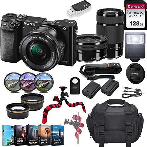 Sony Alpha a6000 Mirrorless Camera w/ 16-50mm & 55-210mm Lenses & 128GB SD Card Bundle(Black)