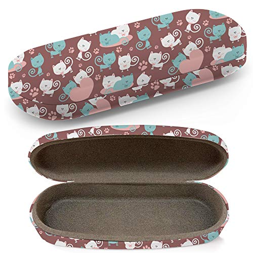 Hard Shell Glasses Protective Case With Cleaning Cloth Eyeglasses Sunglasses - Cats Love Cute
