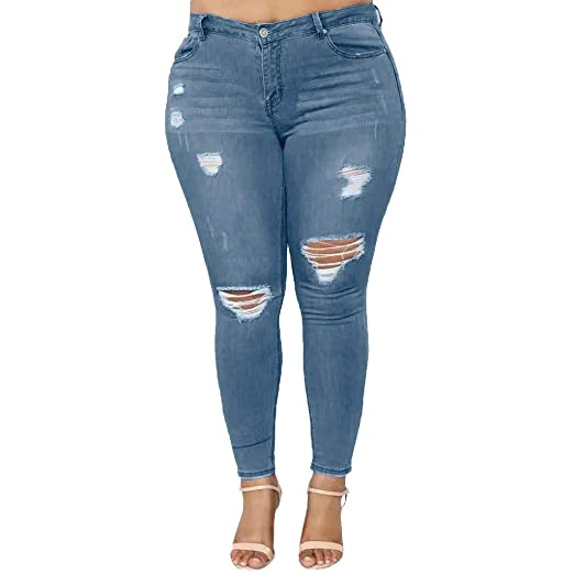 aa464a37039 FONMA Women Plus Size Pants Ripped Stretch Denim Skinny Jeans High Waist  Trousers Blue