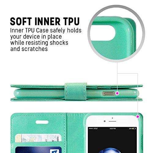 iPhone 7 Plus/ iPhone 8 Plus fundas, [Drop Protection] GOOSPERY® Blue Moon Diary Caja del teléfono de la imitación de cuero tirón de la carpeta Case fundas para Apple iPhone 7 Plus/ iPhone 8 Plus - Bl Mint Green