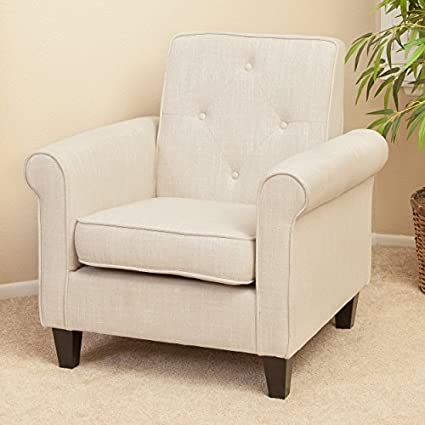 Marvelous Great Deal Furniture Barzini Light Beige Fabric Club Chair