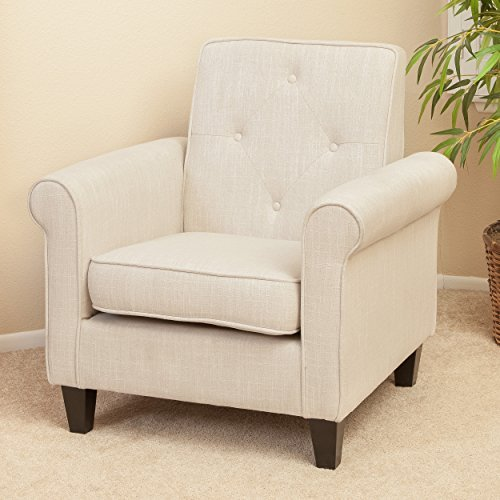 Christopher Knight Home 214526 Isaac Tufted Fabric Club Chair, Beige (Beige Chair)