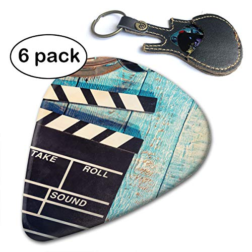 (Queendesign Movie Camera, Roll And Popcorn Wooden 351 Shape Classic Celluloid Guitar Picks 6pc For Electric Guitar,mandolin,bass Assorted Light Medium Heavy Gauge)