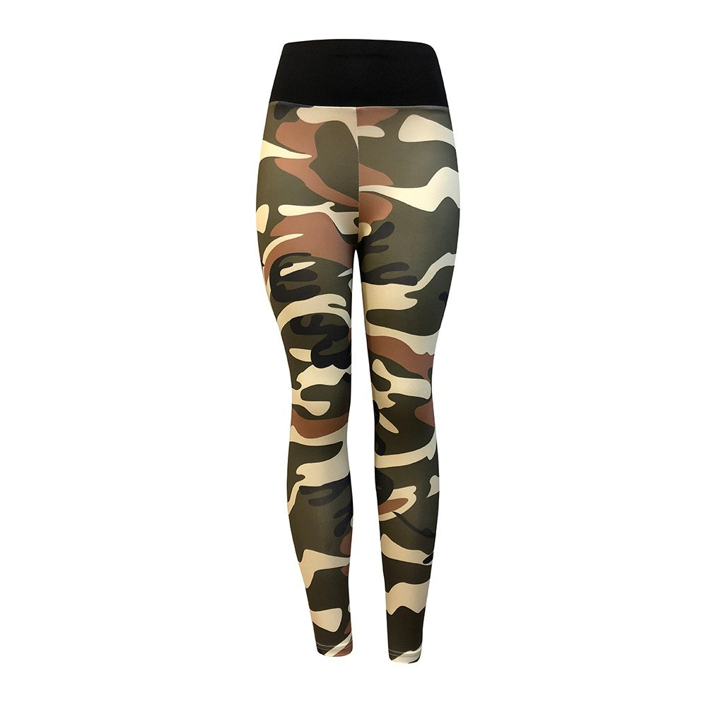 Saymi Camouflage High Waist Yoga Pants for Women Pleated Tummy Control Workout Ruched Butt Lifting Stretchy Leggings