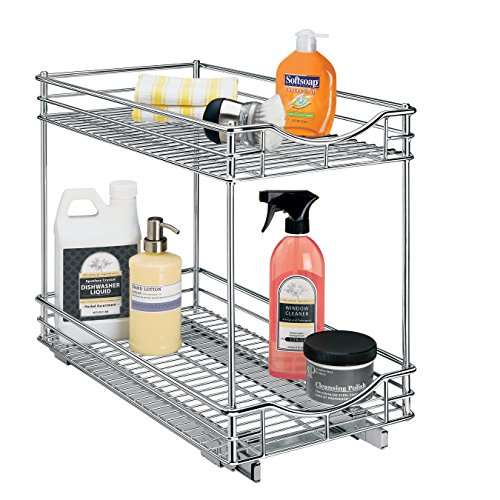 Lynk Professional Double Shelf and Pull Out Two Tier Sliding Under Cabinet Organizer 11w x 21d x 16h -inch Chrome ()