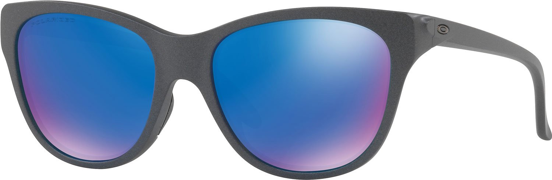Oakley Women's Hold Out Polarized Iridium Cateye Sunglasses, Steel, 55 mm