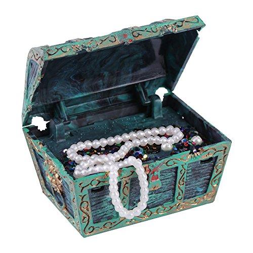 Aquarium Decorations, Artificial Decorative Treasure Jewelry Box Ornament for Fish Tank Aquarium Landscape Decoration (Green) ()