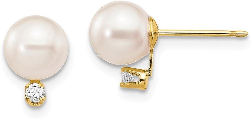 Pendientes de oro amarillo de 14 quilates con perlas cultivadas en agua salada de 6 a 7 mm (0,06 quilates H/SI2)