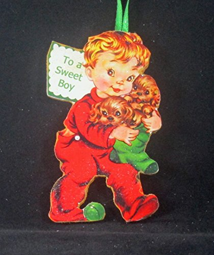Boy w Puppies Ornament Handcrafted Wood, Christmas Mid-Century Modern 1950s Card, Red Pajamas, 1950s Decor, Son Ornament, Cocker (Ornaments Pajamas)