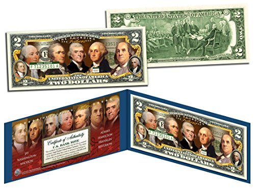 FOUNDING FATHERS OF THE UNITED STATES Colorized Obverse $2 Bill US Legal Tender by Merrick Mint