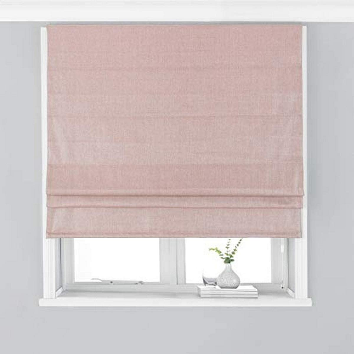 Riva Paoletti Atlantic Blackout Roman Blind Blush Pink Woven Twill Fabric Temperature Control Ready Made Fittings Included 100 Polyester 61 Cm Width X 137 Cm Drop