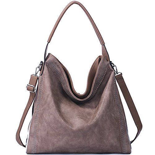 Handbags for women Hobo PU Leather Shoulder Satchel Bags Top-handle Large Capacity Purse Rivets Grey Brown by JOYSON