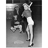 Marilyn Monroe Ready to Swing Playing Baseball in Heels 8 x 10 Inch Photo