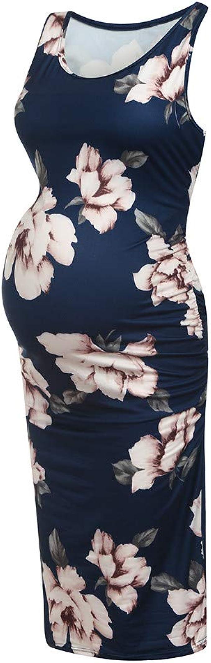 Damen Schwangere Blumen Umstandskleid Schwangerschaftskleid Stillkleid Minikleid