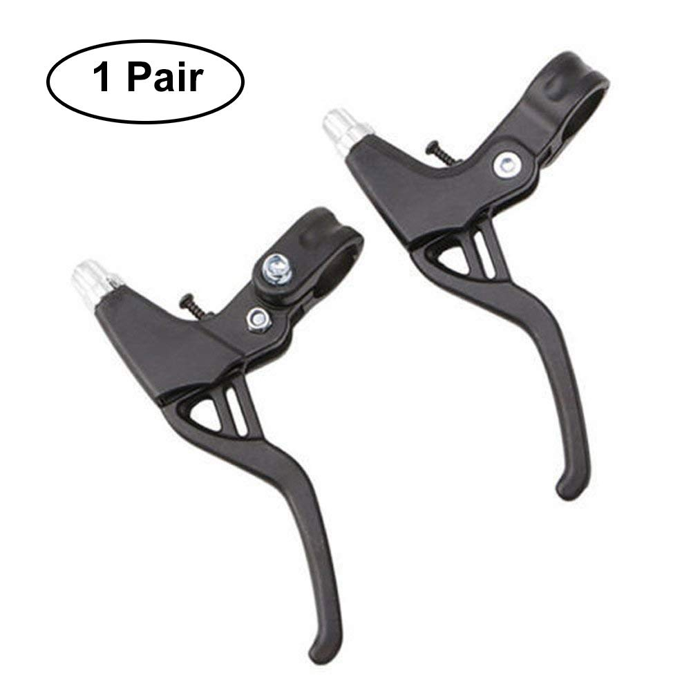 Bicycle Brake Levers 2pcs Mountain Bike Brake Handles 4 Finger 2.2cm Diameter for Most Bicycle, Road Bike, MTB, BMX, Cycling (Aluminum Alloy, Black) by Wake