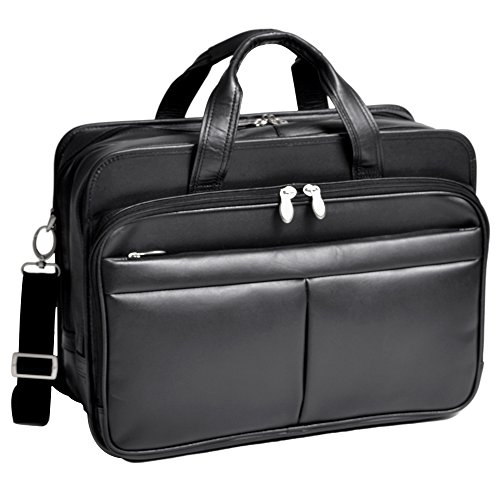 Expandable Double Compartment Laptop Case, Leather, Small, Black - WALTON | McKlein