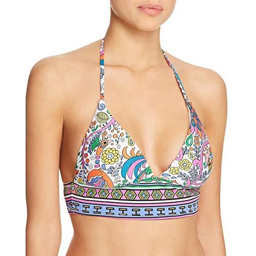Trina Turk Women's Banded Triangle Halter Bikini Swimsuit Top, White/Purple/Jungle Beach Print, 6