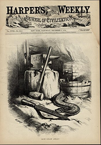 - Democratic Snake Tools Grant Anvil Union Senate 1874 great old print for display