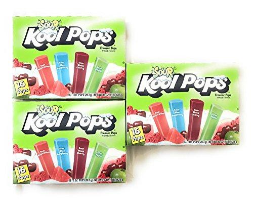 (Sour Kool Pops Freezer Pops,(3 packs of 16-1 oz Pops). Sour Watermelon,Sour blue raspberry, Sour black Cherry,Sour Apple)