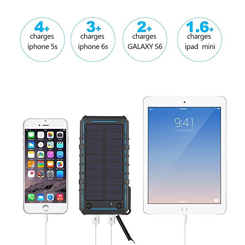 Review Solar Charger 13500mAh,WBPINE Solar Powered Charger Waterproof Dual USB Battery Pack with 2 LED Flashlight for Cell Phone and More(blue)