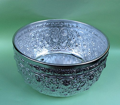 Antique Thai Bowl Rare Vintage Asian Aluminum Water Dipper Silver, Big Size 10.5 Inch Wide, 5 Inch Tall.