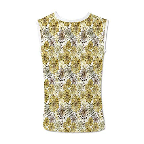 (Floral Comfortable Tank Top,Cute Artistic Blossoms Petals Modern Dots Abstract Bedding Plants Gardening for Men,XXL)
