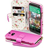 HTC One M8 Case, Terrapin [Pink] [Floral Interior] Premium PU Leather Wallet Case with Card Slots, Cash Compartment and Detachable Wrist Strap for HTC One M8 - Pink