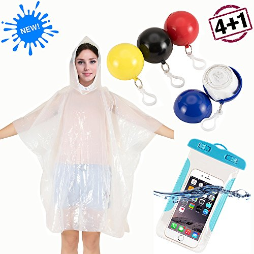 Mens/Womens Rain Poncho Pocket ball (4 Sets) Plus 1 PCS Waterproof Phone Case for Camping Backpacking Outdoor Sport Water Park Vacation Tour Travel Essentials-One Size Fits Most