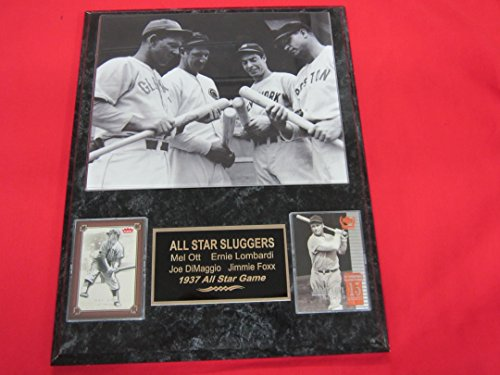 (Joe DiMaggio Mel Ott Ernie Lombardi Jimmie Foxx 2 Card Collector Plaque w/8x10 1937 All Star Game)